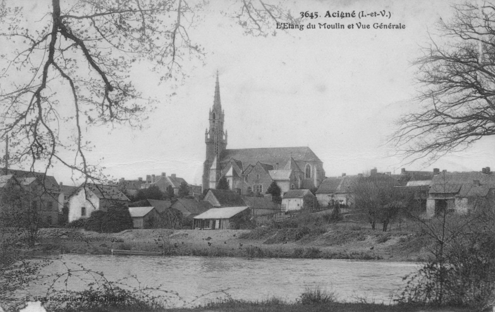 Acigné vu des bords de la Vilaine en 1916