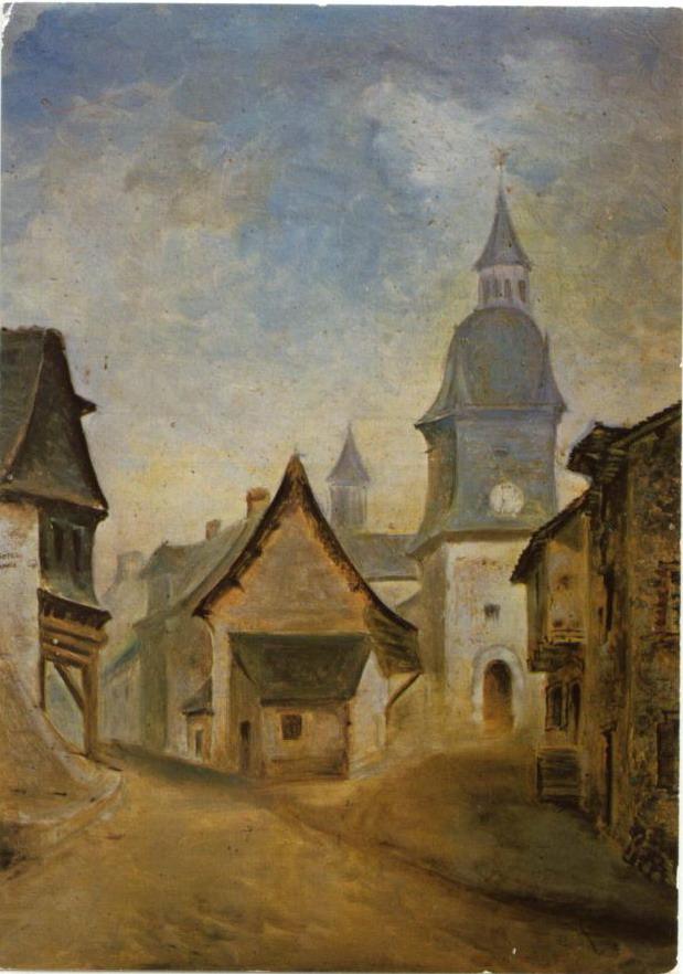 Place de l'église d'Acigné. Tableau peint en 1850.