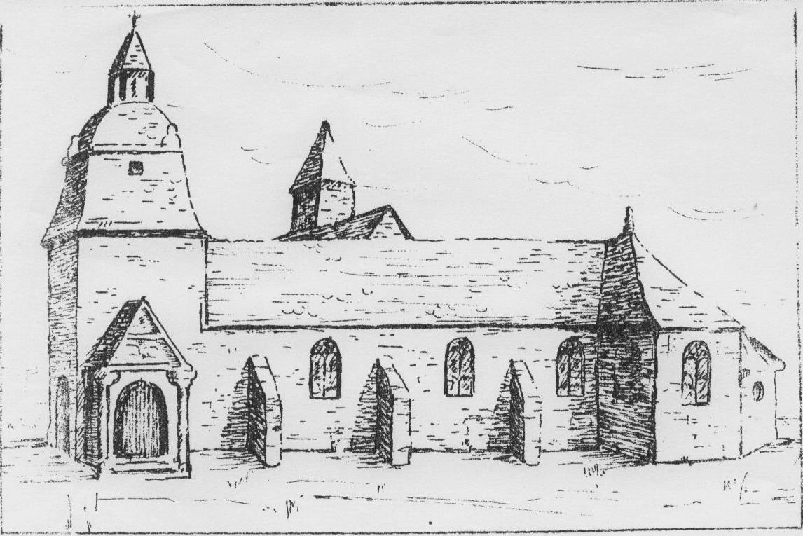 L'église d'Acigné au XIXe siècle. Dessin d'auteur inconnu.