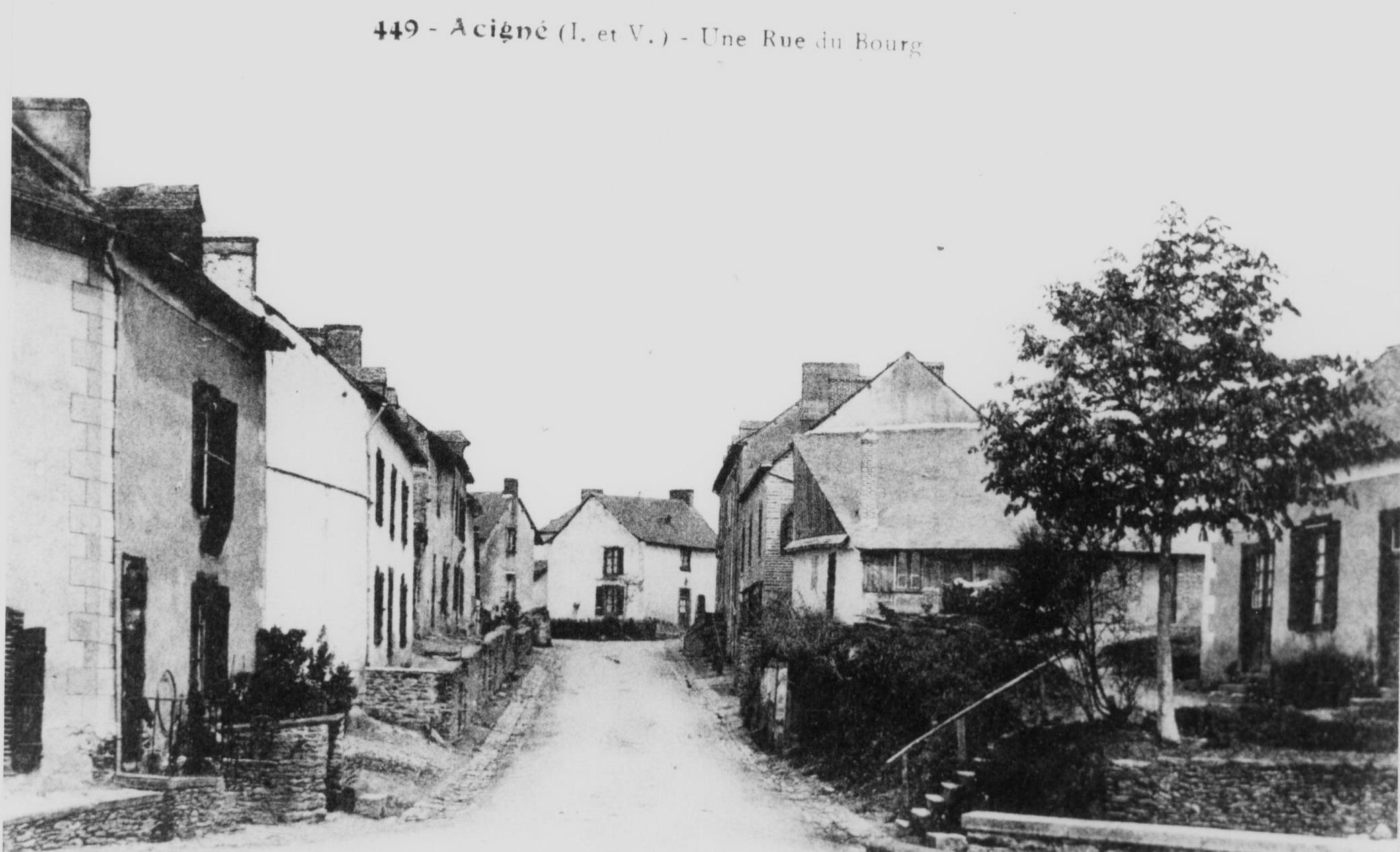 La rue de Calais à Acigné, dans la première moitié du XXe s.