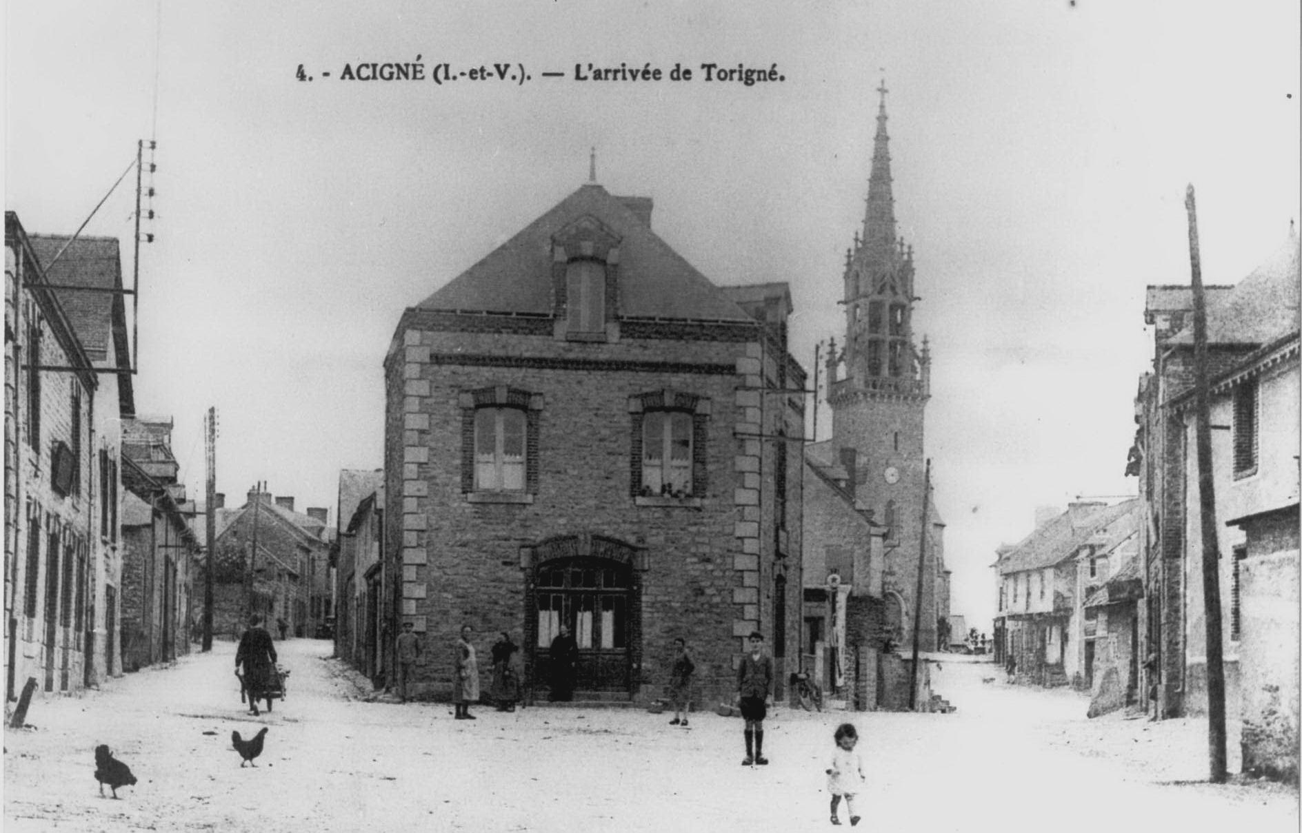 Acigné : entrée du bourg côté Ouest - 1920